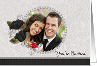 You're Invited Wedding Diamond Floral Photo Card