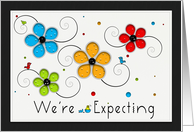 We're Expecting, Floral Birds card