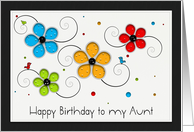 Happy Birthday to my Aunt Floral Cut out card