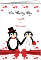 Cute Penguin Bride & Groom Wedding Invitation Custom Card