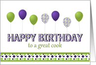Happy Birthday,Cook,Purple,Green,Polka Dotted Balloons card