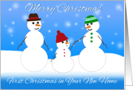 Merry Christmas, First Christmas in Your New Home, Snowman Family card