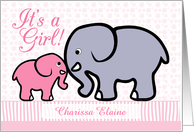 Birth Announcement, Girl, Personalized-Pink, Elephant- Mother and Baby card