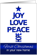 Christmas,First Christmas in Your New Home, Blue and White card