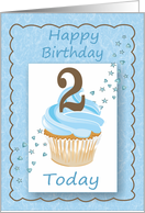 Second(2nd) Birthday Blue Card with Cupcake Stars & Hearts card