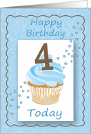 Fourth (4th) Birthday Blue Card with Cupcake Stars & Hearts card