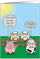 Funny Birthday Animals - Pig Cow & Sheep - Rudy & Moody Woolly Hat card