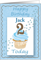 Second (2nd) Birthday Customize Boy with Cupcake Stars & Hearts card