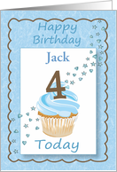 Fourth (4th) Birthday Customize Boy with Cupcake Stars & Hearts card