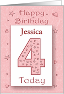 Fourth (4th) Birthday Girl Personalize Pink with Stars & Hearts card