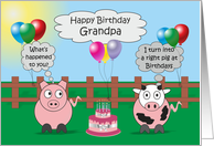 Grandpa Humor Birthday Card Funny Farm Animals Rudy Pig & Moody Cow card