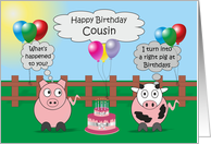 Cousin Humor Birthday Card Funny Farm Animals Rudy Pig & Moody Cow card