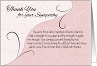 Thank You Sympathy Card - Pastel Pink with Vintage Scrolls card