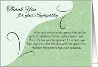 Thank You Sympathy Card - Pastel Green with Vintage Scrolls card