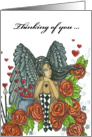 Thinking of You - Angel and Roses Blank Note Card