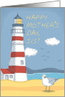 Mother's Day Sis, Lighthouse, Seagull and Ocean Landscape card