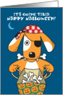 Dog in Pirate Costume with Bones, Funny Halloween Pun card