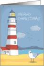 Lighthouse, Seagull and Ocean Landscape Merry Christmas card