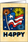 Happy 4th of July American Flag, Stars and Fireworks card