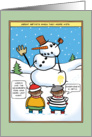 Funny Kid Artist Abstract Snowman, Merry Christmas card