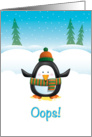 Funny Christmas, Cute Penguin Peed in the Snow card