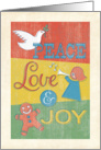 Peace, Love & Joy Vintage Looking Christmas card