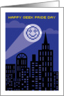 Happy Geek Pride Day, 8 Bit Smiley Face Searchlight card