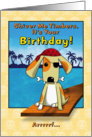 Cute Pirate Dog with Eye Patch and Bone Birthday card
