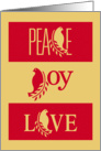 Christmas, Peace, Joy, and Love With Dove and Olive Branch card