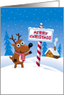 Christmas, From Our Home to Yours, Cute Reindeer at North Pole card