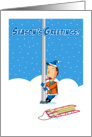 Sticking Around for Christmas, Tongue Frozen to Pole, Humor card