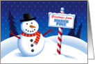 Chistmas Greetings From North Pole, Cute Snowman card