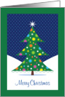 Merry Chistmas Stylized Tree with Ornaments in Snow card
