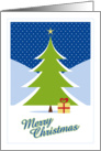 Christmas, Tree in Snow with Heart Bow Gift card