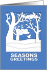 Christmas, Cut Paper Snowy Winter Scene in Blue and White card