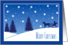 Merry Christmas, Horse Drawn Sleigh Snowy Scene in Blue card