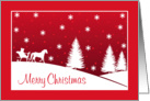 Merry Christmas, Horse Drawn Sleigh Snowy Scene in Red card