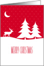 Merry Christmas, Reindeer in Snow Under Moon, Red card