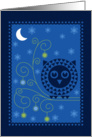 Merry Christmas, Stylized Owl with Ornaments Under Moon card