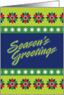 Season's Greetings, Graphic Style Poinsettias and Snowflakes card
