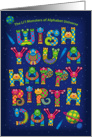 Happy Birthday, Alphabet Shaped Cute Space Monsters Characters card