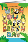 Happy Birthday, Alphabet Shaped Cute Animal Characters card