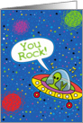 Happy Birthday Humor, You Rock Space Alien on Star Background card