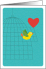 Yellow Bird Flying from Birdcage with Heart, Valentine's Day card