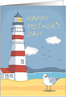 Mother's Day, Lighthouse, Seagull and Ocean Landscape card
