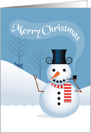 Snowman with Pipe and Sled Rider, Merry Christmas card