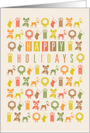 Happy Holidays Christmas Icons Collage card