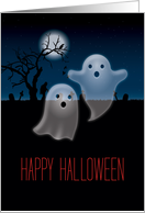 Cute Ghosts and Spooky Graveyard, Happy Halloween card