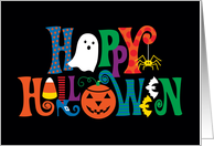 Happy Halloween with Ghost, Pumpkin, Spider, Bats, Candy Corn card