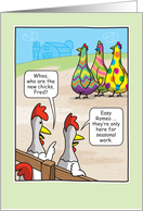 Funny Easter Egg Dyed Chickens Humor card